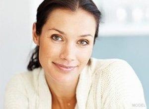 Woman staring into camera